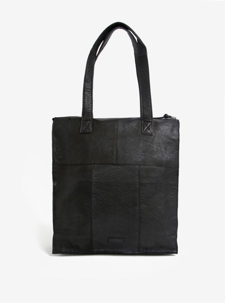 Černá kožená kabelka Pieces Abby