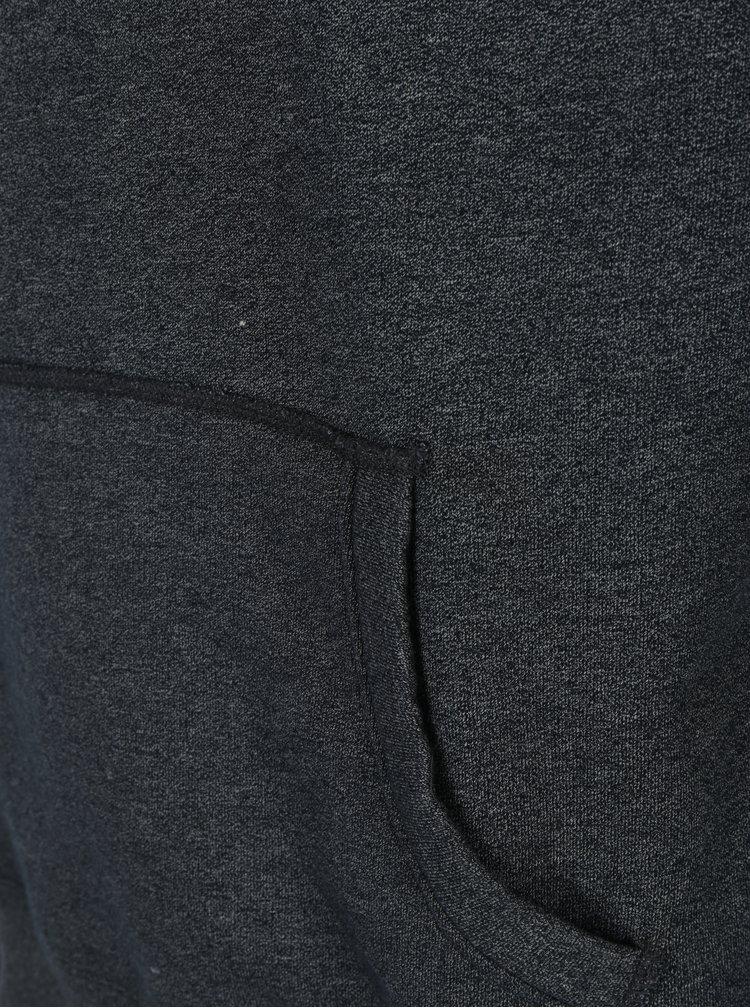 Tmavě šedá pánská žíhaná mikina s kapucí Jimmy Sanders