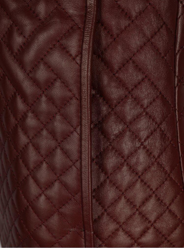 Vínová dámská prošívaná kožená bunda Jimmy Sanders
