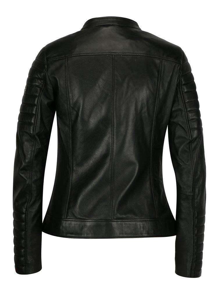 Černá kožená dámská bunda s prošívanými rukávy Jimmy Sanders Andria