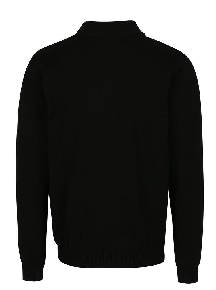 Černý pánský svetr s knoflíky a nášivkou Jimmy Sanders