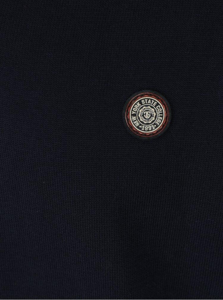 Tmavě modrý pánský lehký svetr s nášivkou Jimmy Sanders