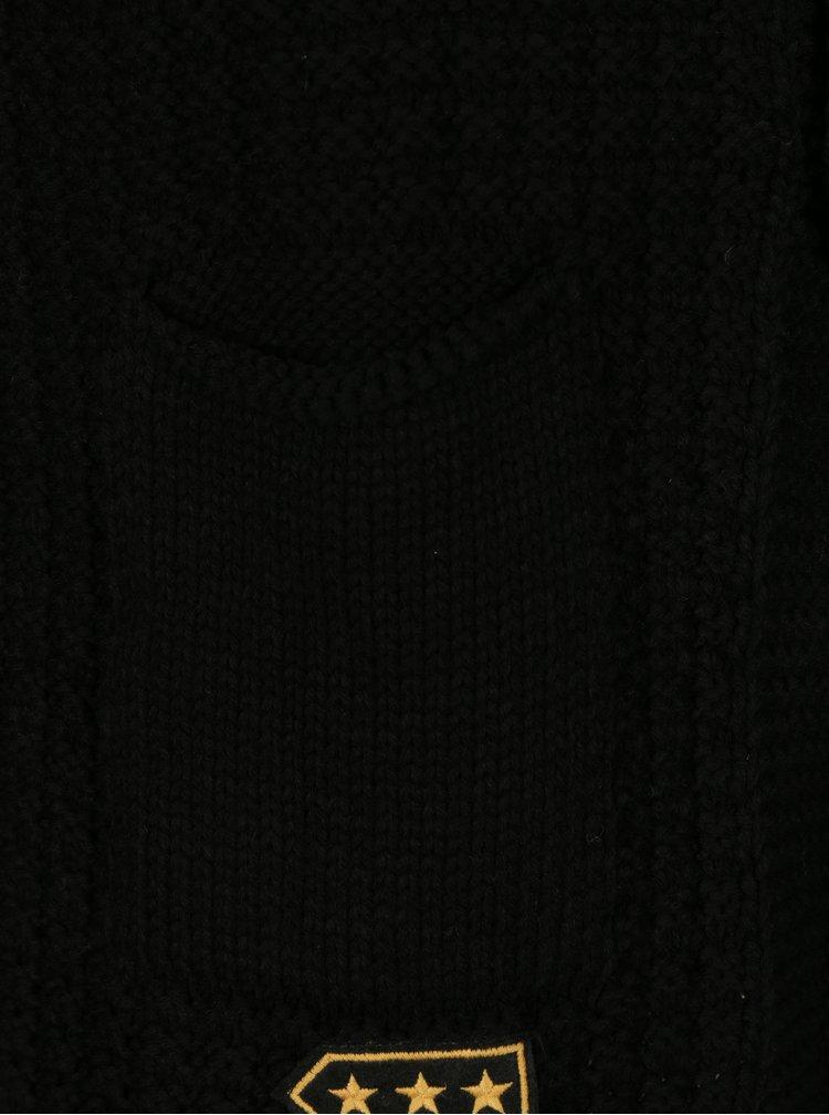 Černý pánský kardigan s nášivkami a příměsí vlny Jimmy Sanders