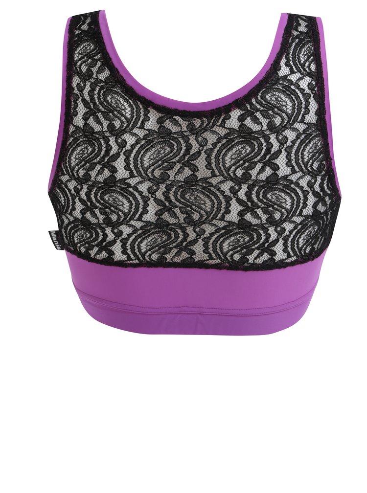 Fialová sportovní podprsenka s krajkovanou zadní částí Mania fitness wear Goddness