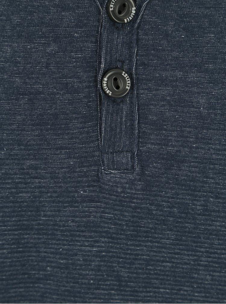 Tmavě modré pánské slim fit žíhané tričko s knoflíky s.Oliver