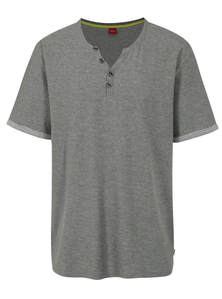 Šedé pánské žíhané slim fit tričko s knoflíky s.Oliver