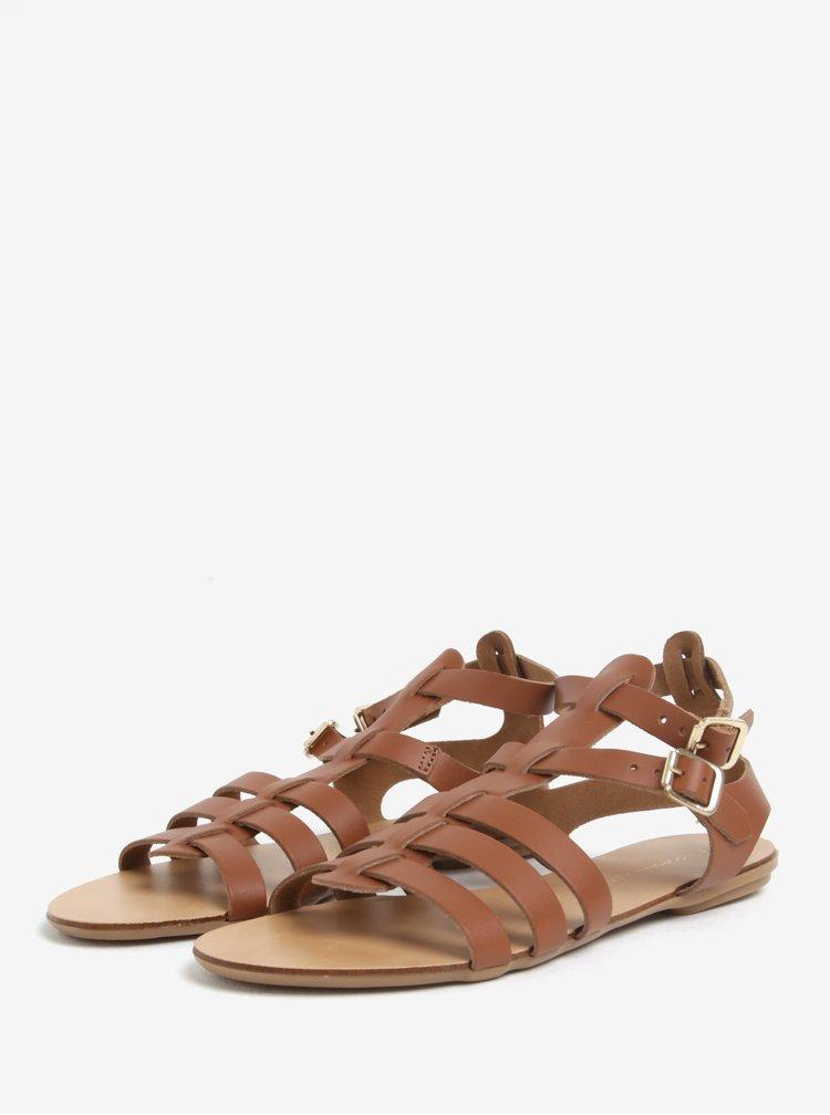 Hnědé kožené sandály Dorothy Perkins