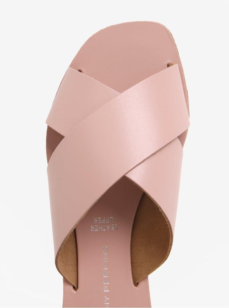 Světle růžové kožené pantofle Dorothy Perkins