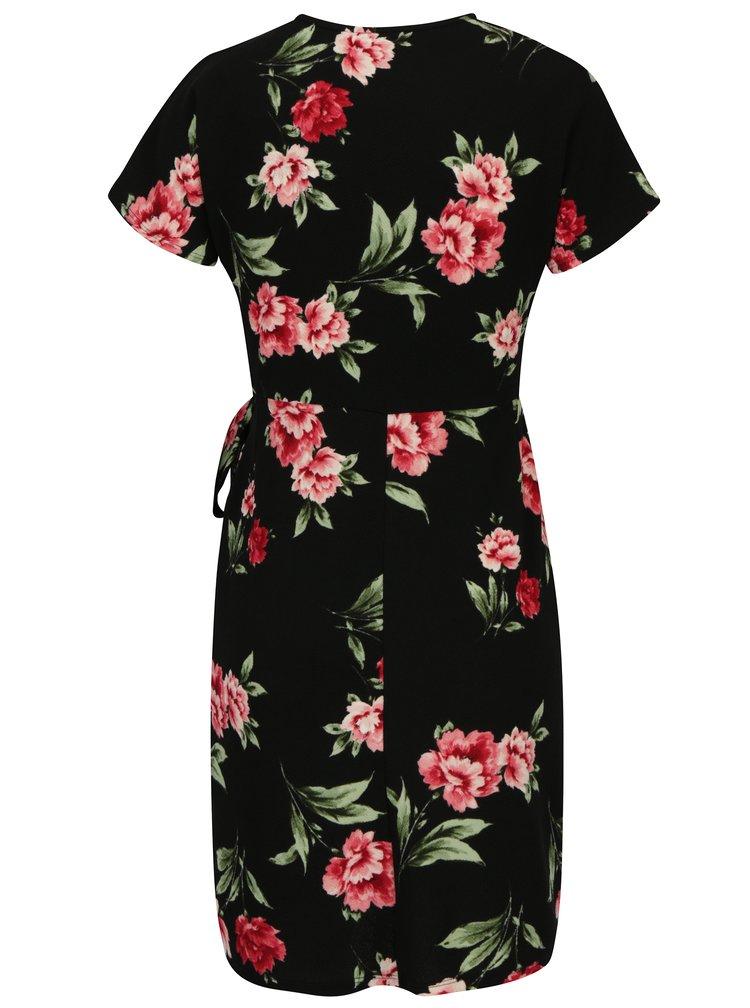 Ružovo-čierne kvetované zavinovacie šaty Dorothy Perkins Petite