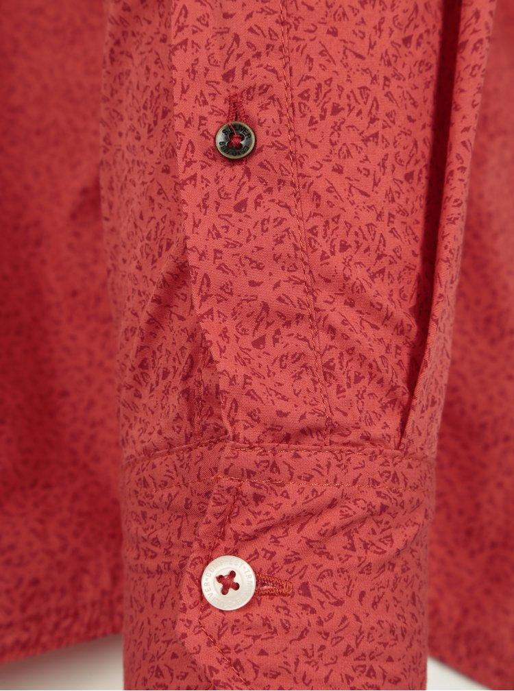 Červená pánská vzorovaná slim fit košile s.Oliver