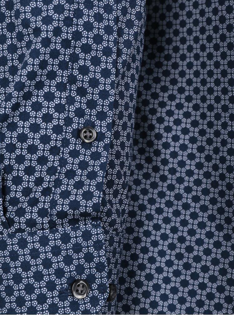 Bílo-modrá pánská vzorovaná formální košile Seven Seas Washington