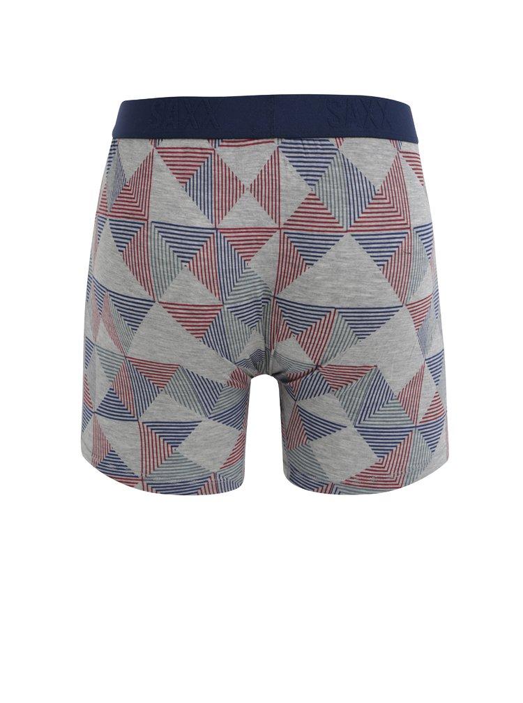 Modro-šedé pánské vzorované boxerky SAXX Ultra Regular fit
