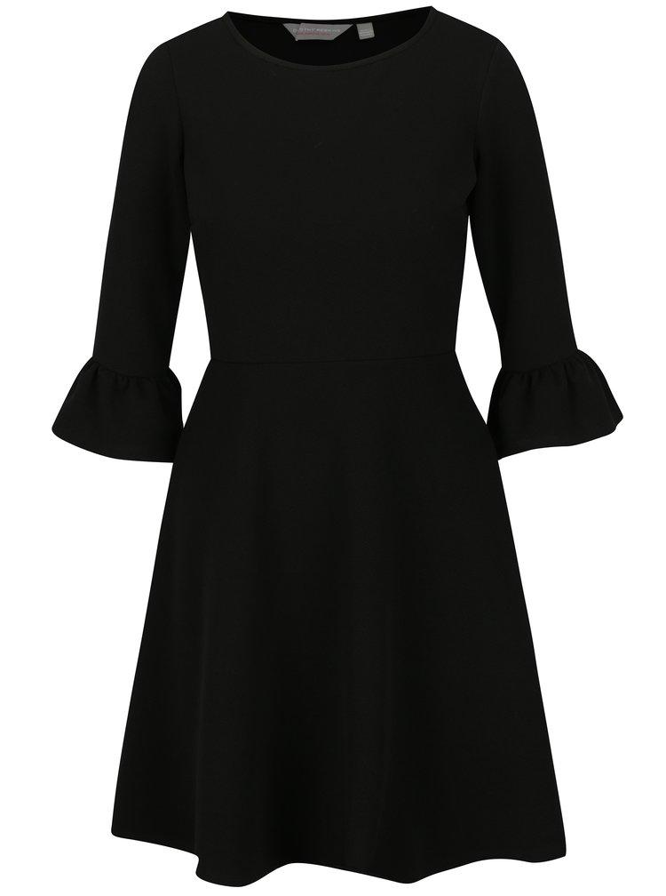 Černé šaty s 3/4 zvonovým rukávem Dorothy Perkins Petite