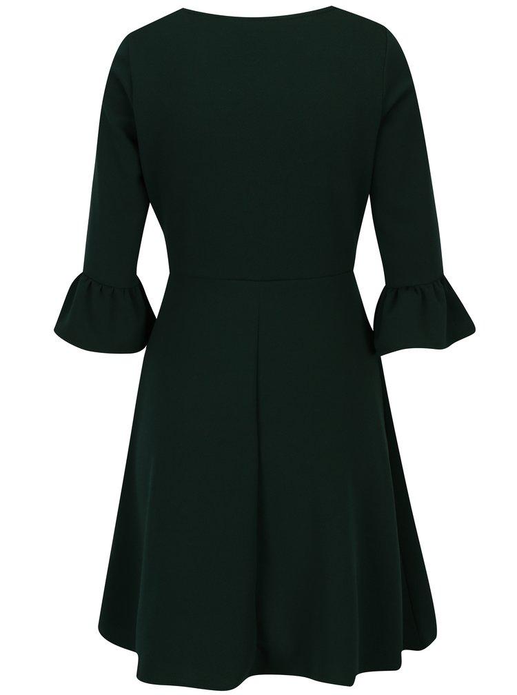 Zelené šaty s 3/4 zvonovým rukávem Dorothy Perkins Petite