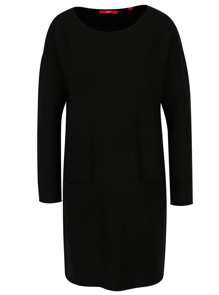Černé svetrové šaty s kapsami s.Oliver