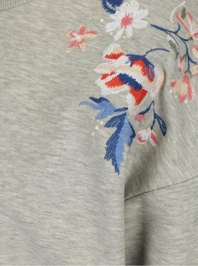 Světle šedá mikina s výšivkou květin Dorothy Perkins