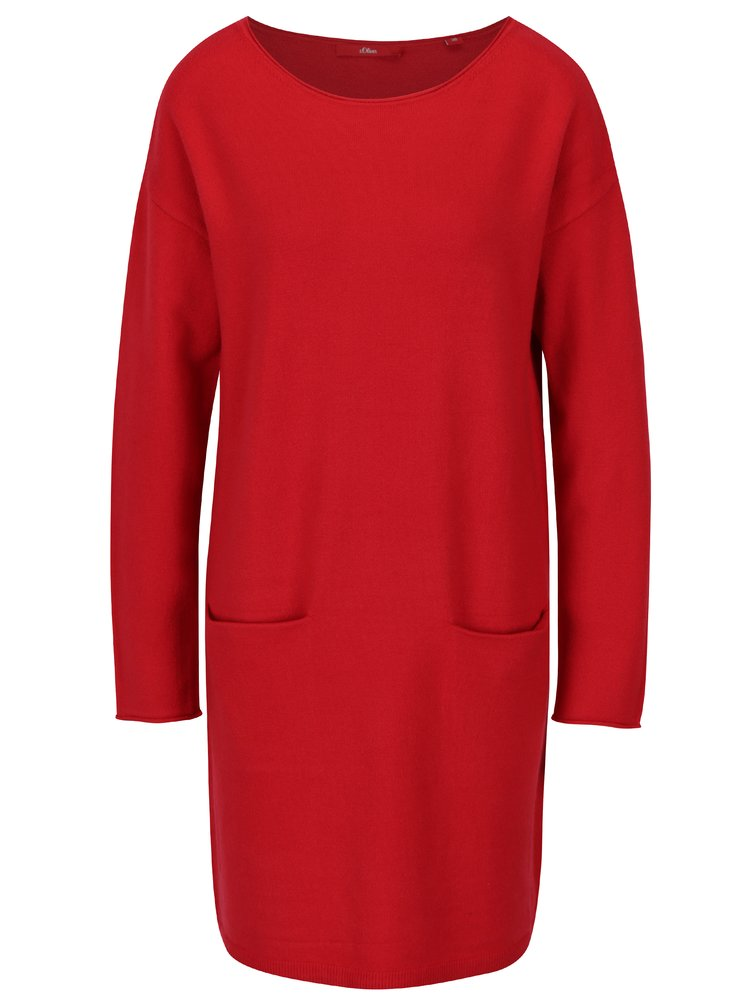 Rochie - pulover rosie cu buzunare - s.Oliver