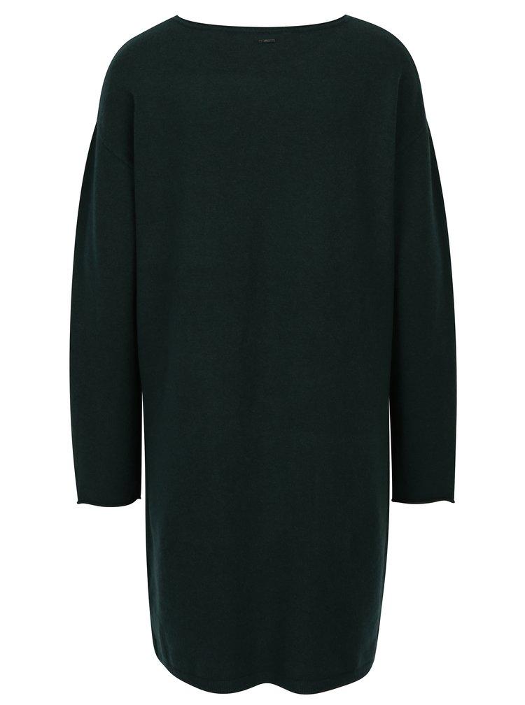 Tmavě zelené svetrové šaty s kapsami s.Oliver