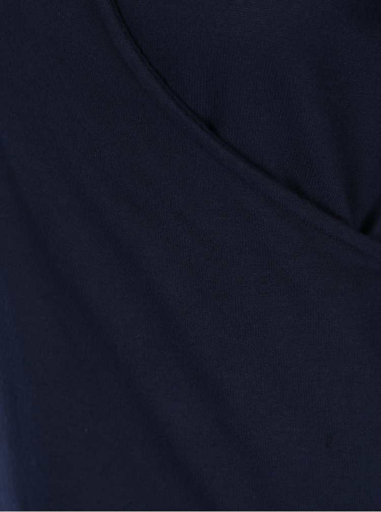 Tmavě modrý top s překládaným výstřihem Dorothy Perkins