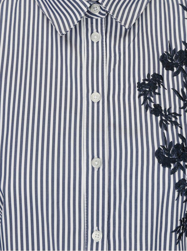 Camasa bleumarin in dungi cu broderie florala Dorothy Perkins