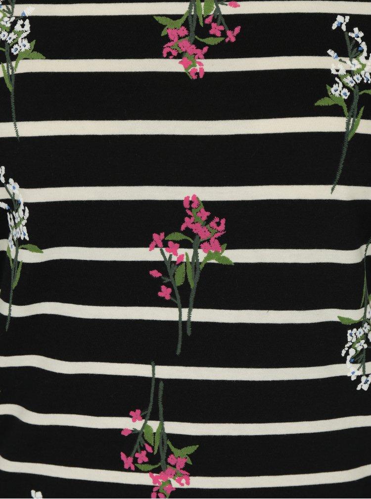 Bluza bleumarin in dungi cu broderie florala si maneci 3/4 Dorothy Perkins