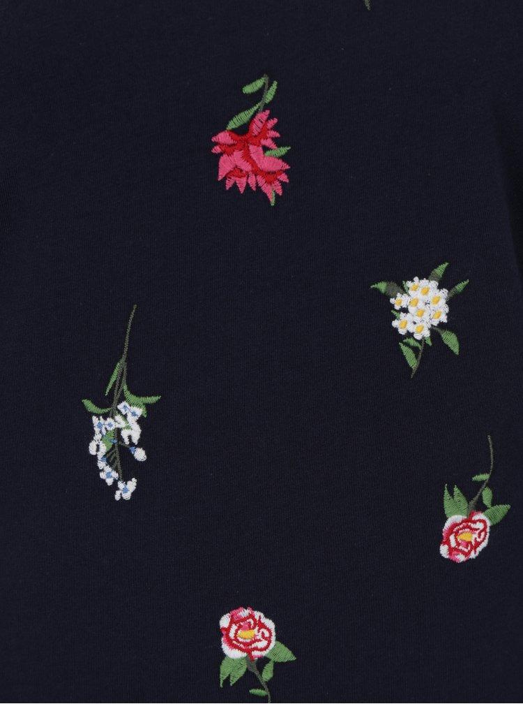 Tmavě modré tričko s výšivkou květin Dorothy Perkins