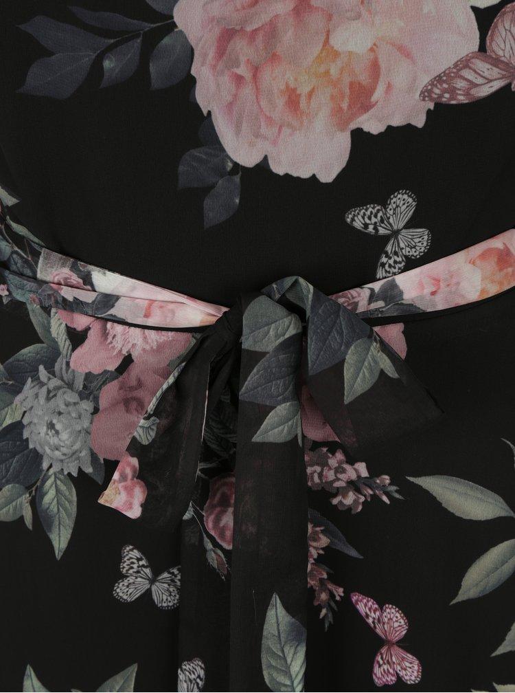 Černé květované šaty se zavazováním v pase Billie & Blossom Tall