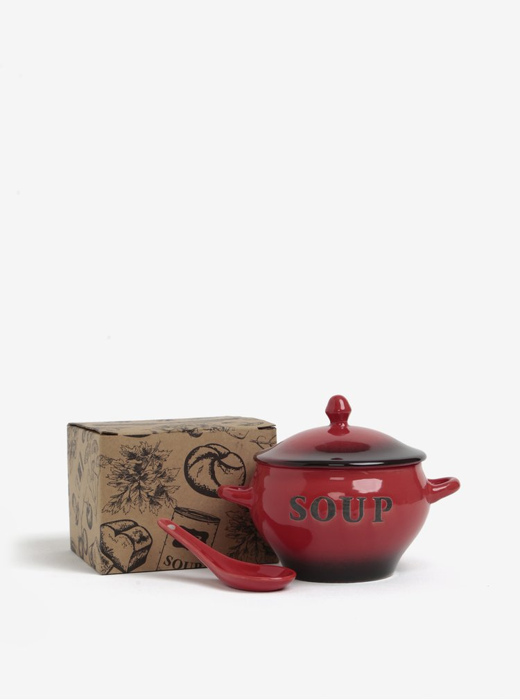 Červená keramická miska se lžičkou na polévku CGB