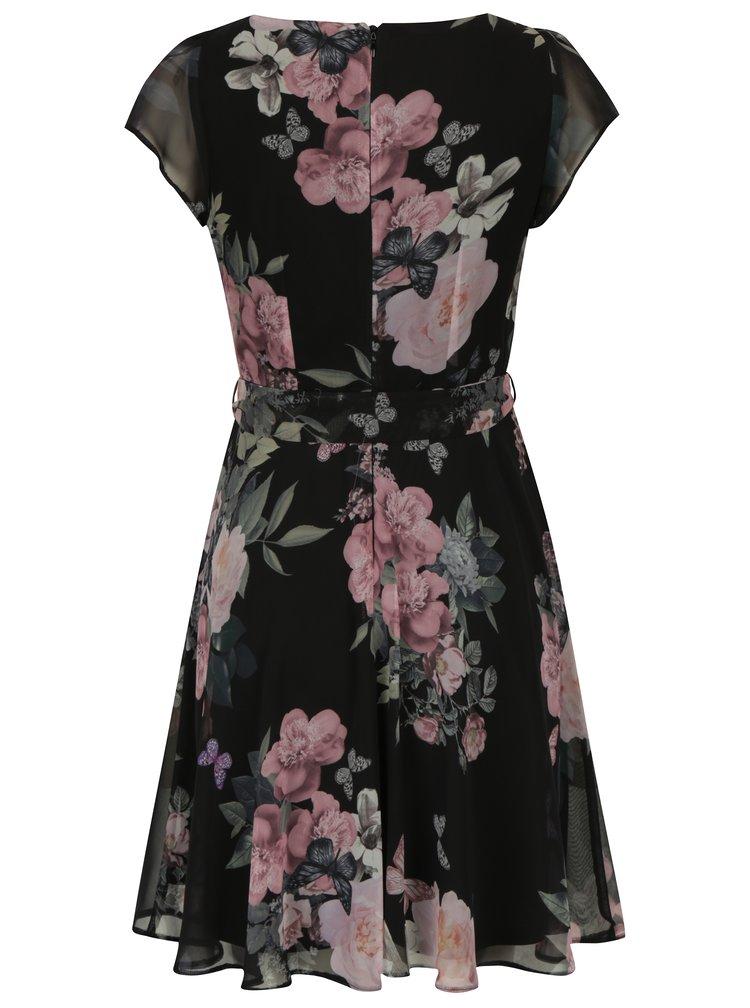 Černé květované šaty se zavazováním v pase Billie & Blossom Petite