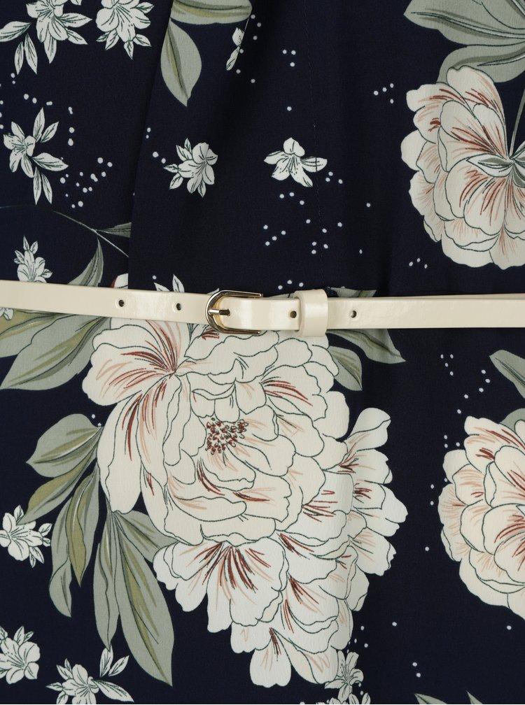 Tmavě modré květované maxišaty s páskem Dorothy Perkins