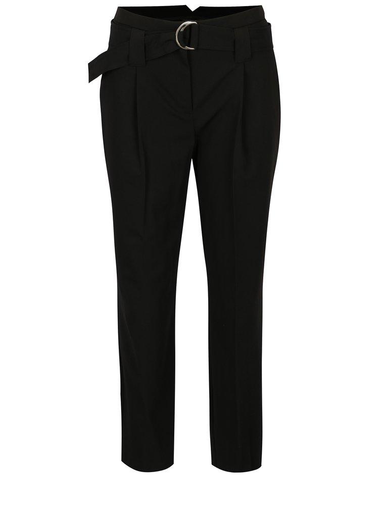 Pantaloni cropped negri cu cordon in talie Dorothy Perkins