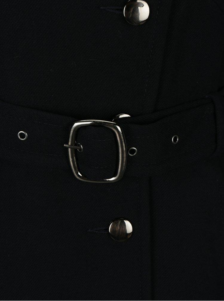 Tmavě modrý kabát s umělým kožíškem Dorothy Perkins