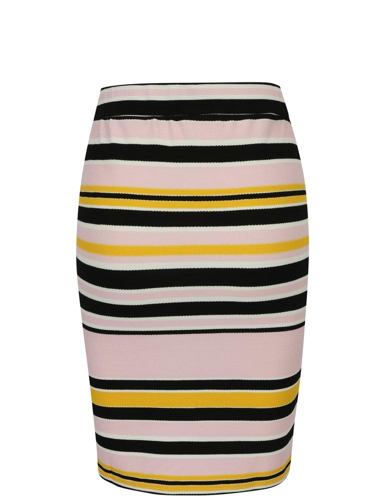 Černo-růžová pruhovaná pouzdrová sukně Noisy May Lina