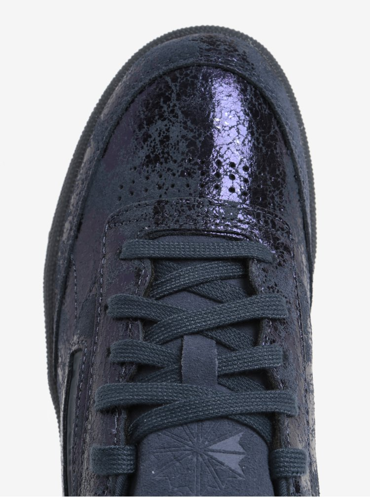 Tmavě modré lesklé kožené tenisky Reebok