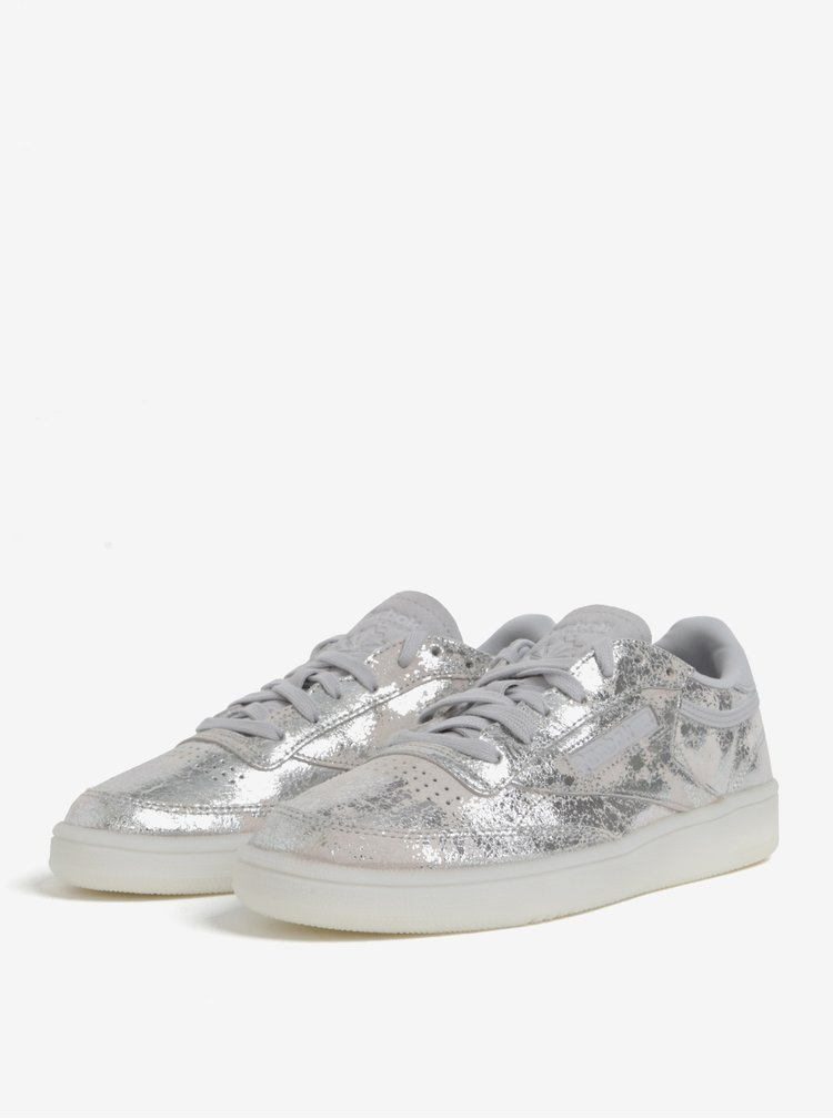 Dámské lesklé kožené tenisky ve stříbrné barvě Reebok