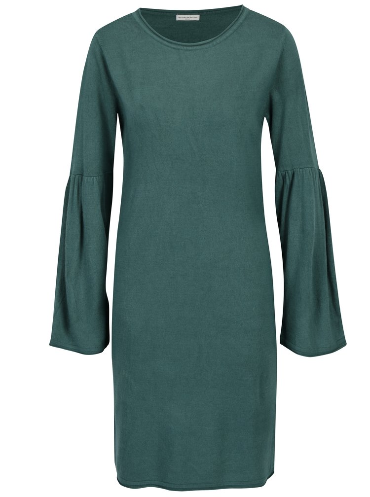 Zelené šaty s rozšířeným rukávem Jacqueline de Yong Stardust