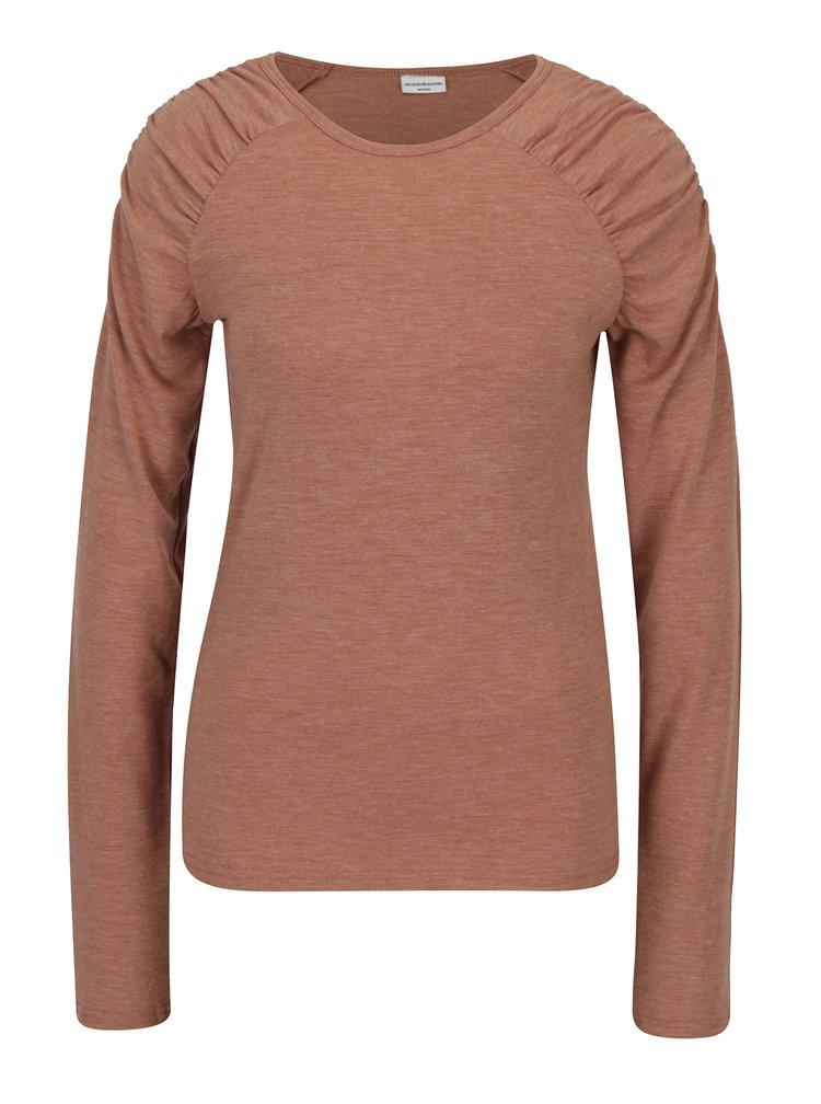 Starorůžové tričko s řasením na ramenou Jacqueline de Yong Adora