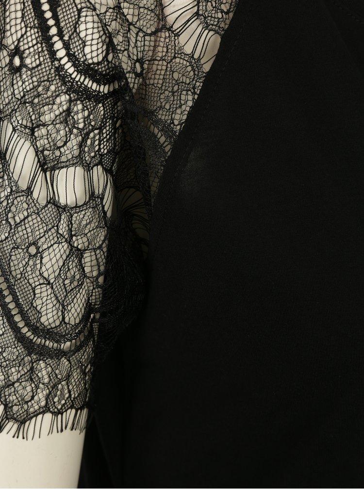 Bluza neagra cu maneci scurte din dantela Jacqueline de Yong Minni