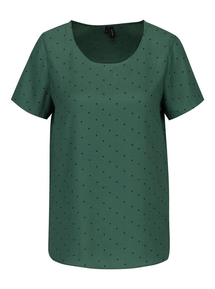 Tmavě zelená puntíkovaná volná halenka VERO MODA Henna