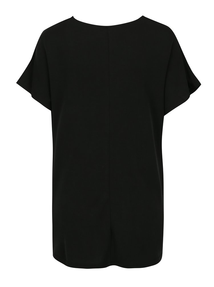 Černý volný top s řasením v dekoltu VERO MODA Nice
