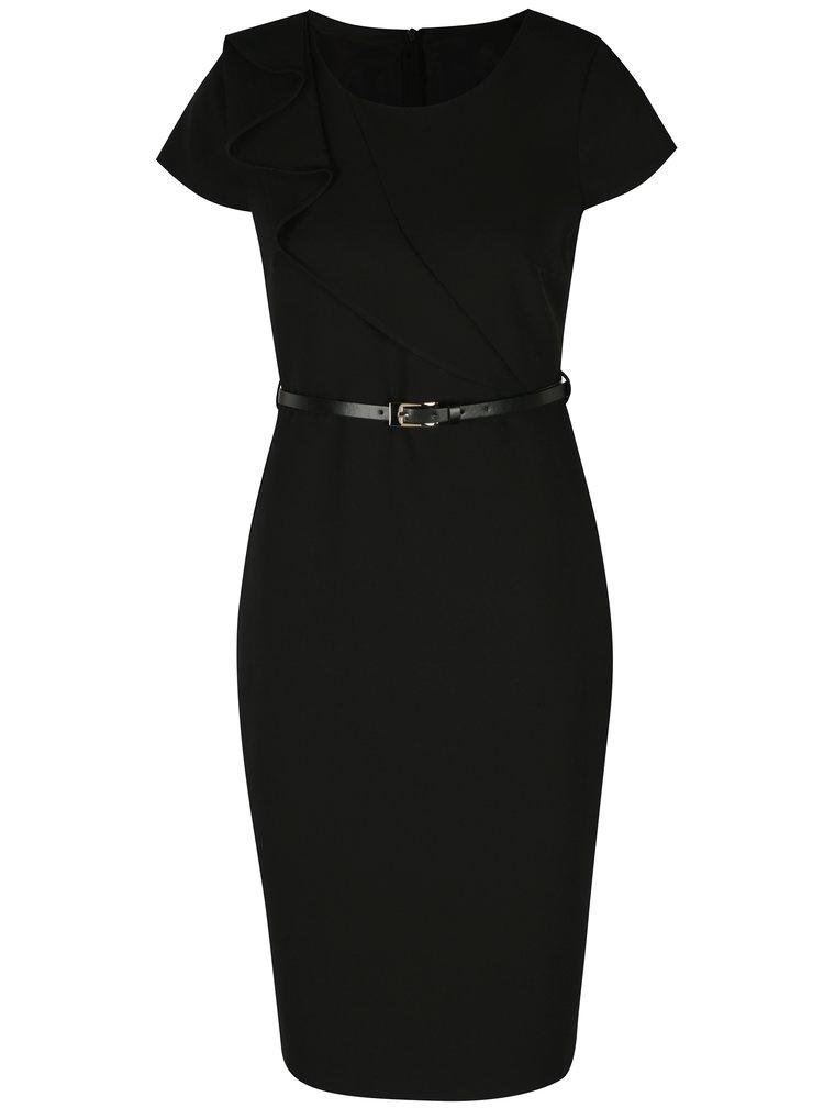 Černé pouzdrové šaty s páskem Dorothy Perkins