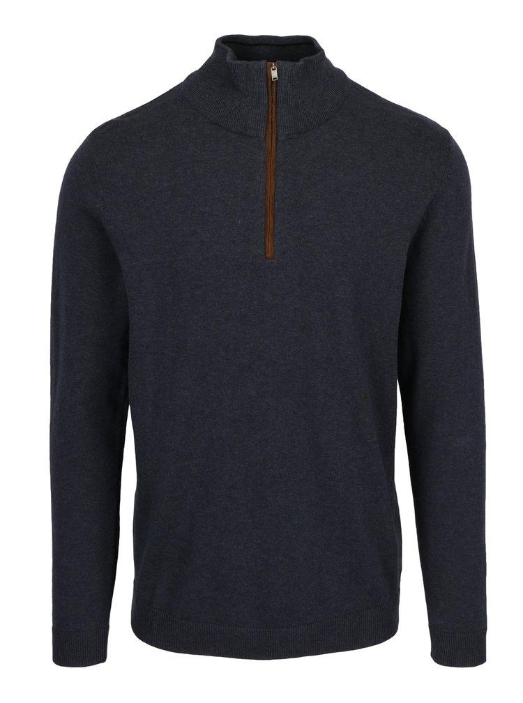 Tmavě modrý svetr se zipem Selected Homme Jake