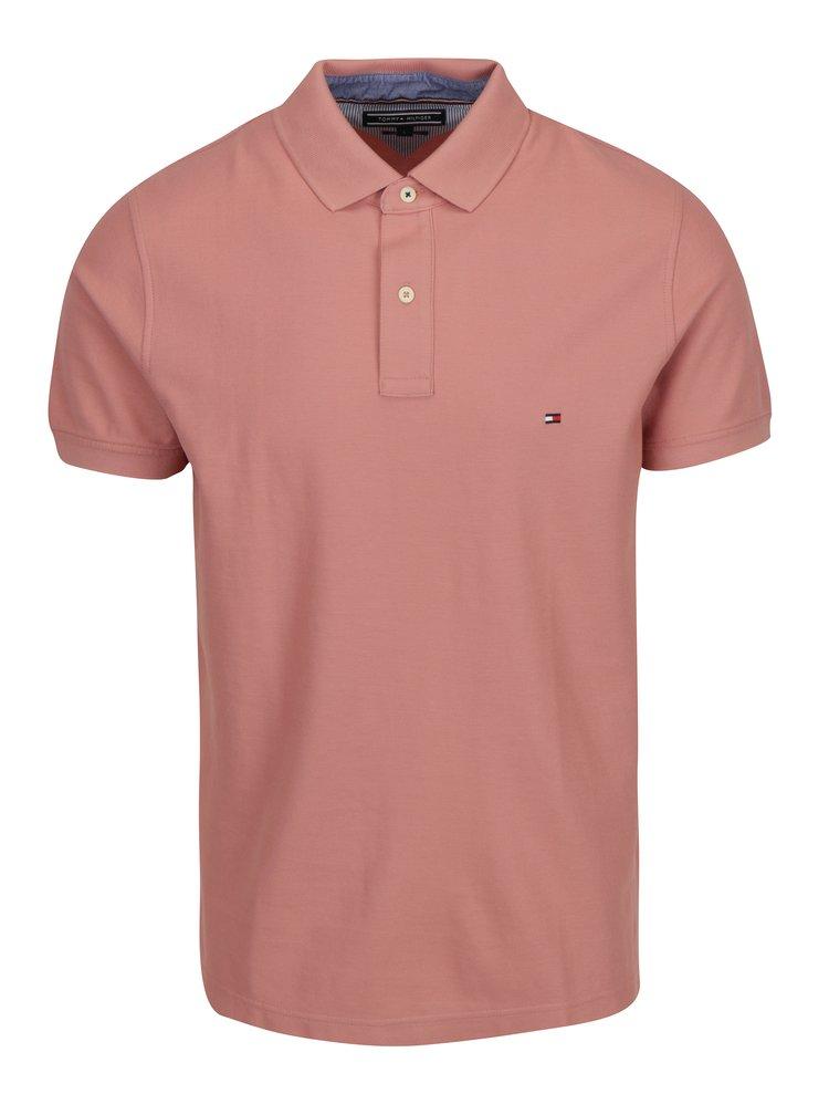 Starorůžové pánské slim fit polo tričko Tommy Hilfiger