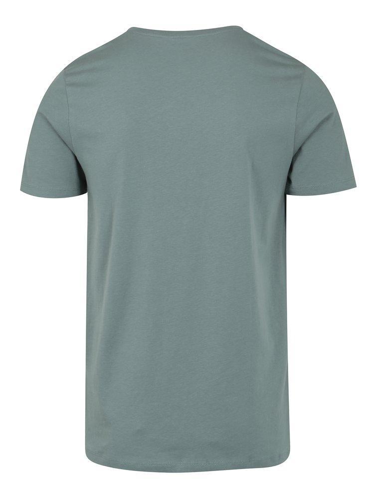 Modrošedé tričko s potiskem a kulatým výstřihem Jack & Jones Smokey