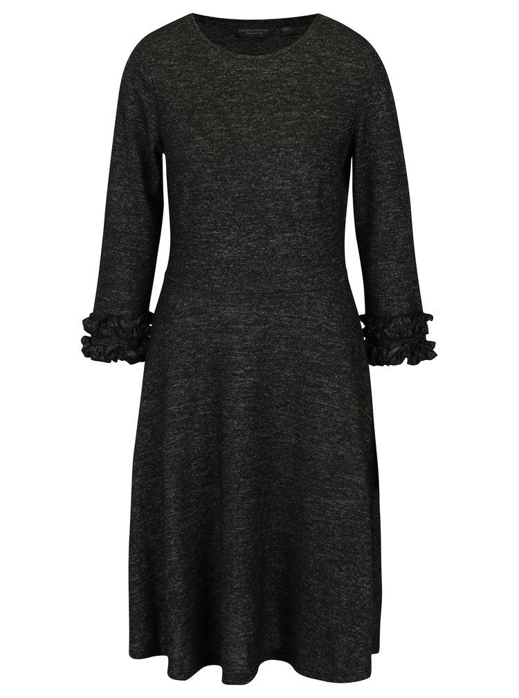 Tmavě šedé žíhané šaty s 3/4 rukávem Dorothy Perkins