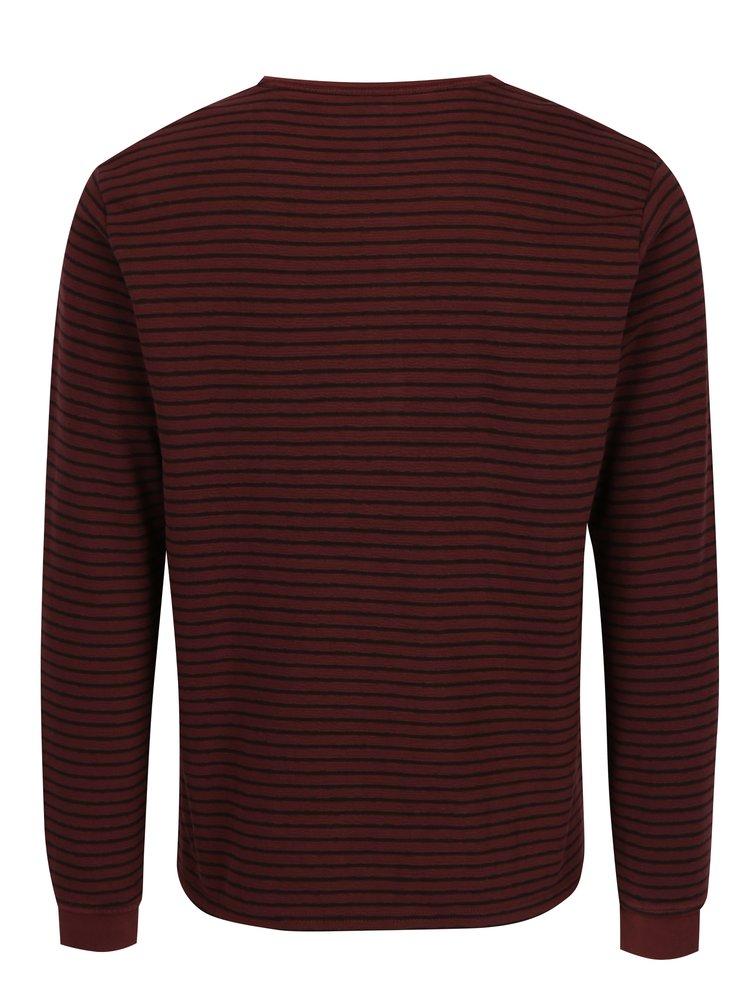 Červené pánské pruhované tričko s knoflíky s.Oliver
