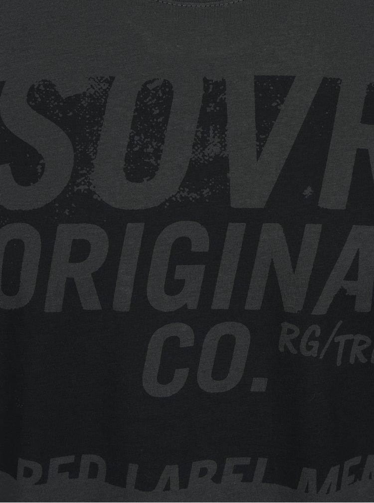 Tricou gri inchis cu print pentru barbati - s.Oliver