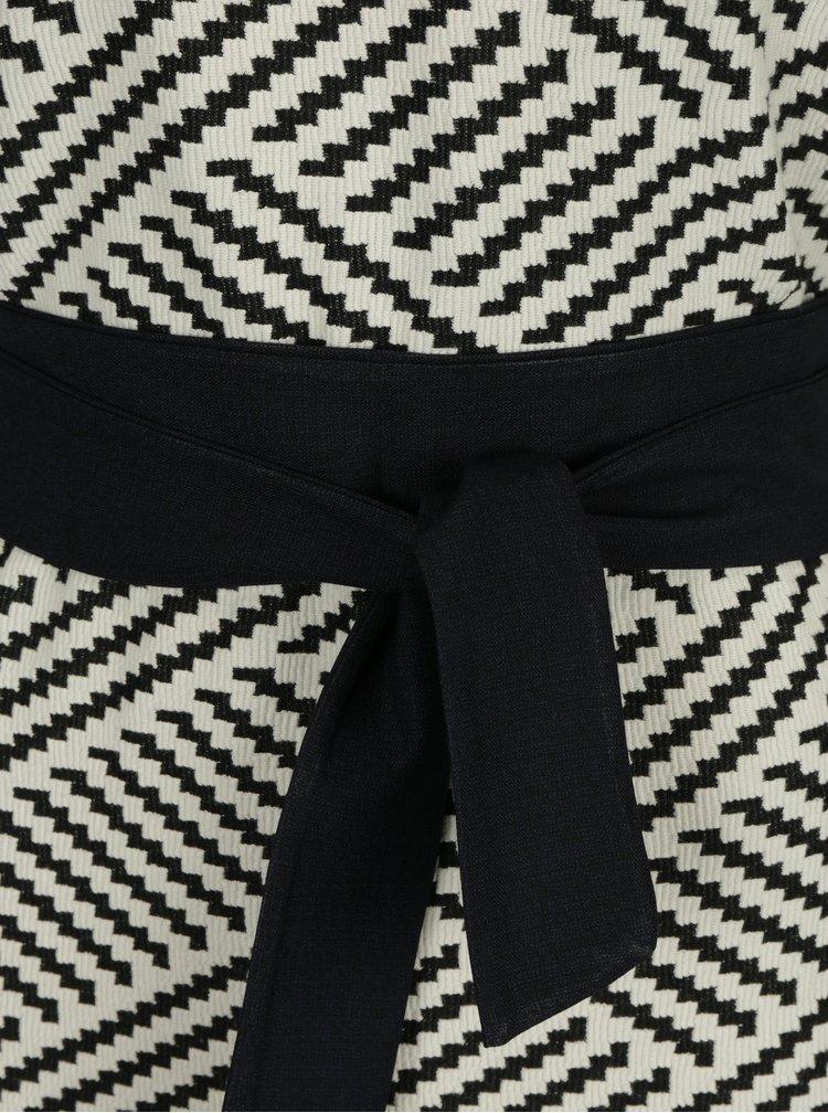 Krémové vzorované maxišaty s páskem La femme Mi
