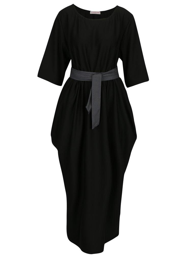 Černé oversize šaty s páskem La femme MiMi
