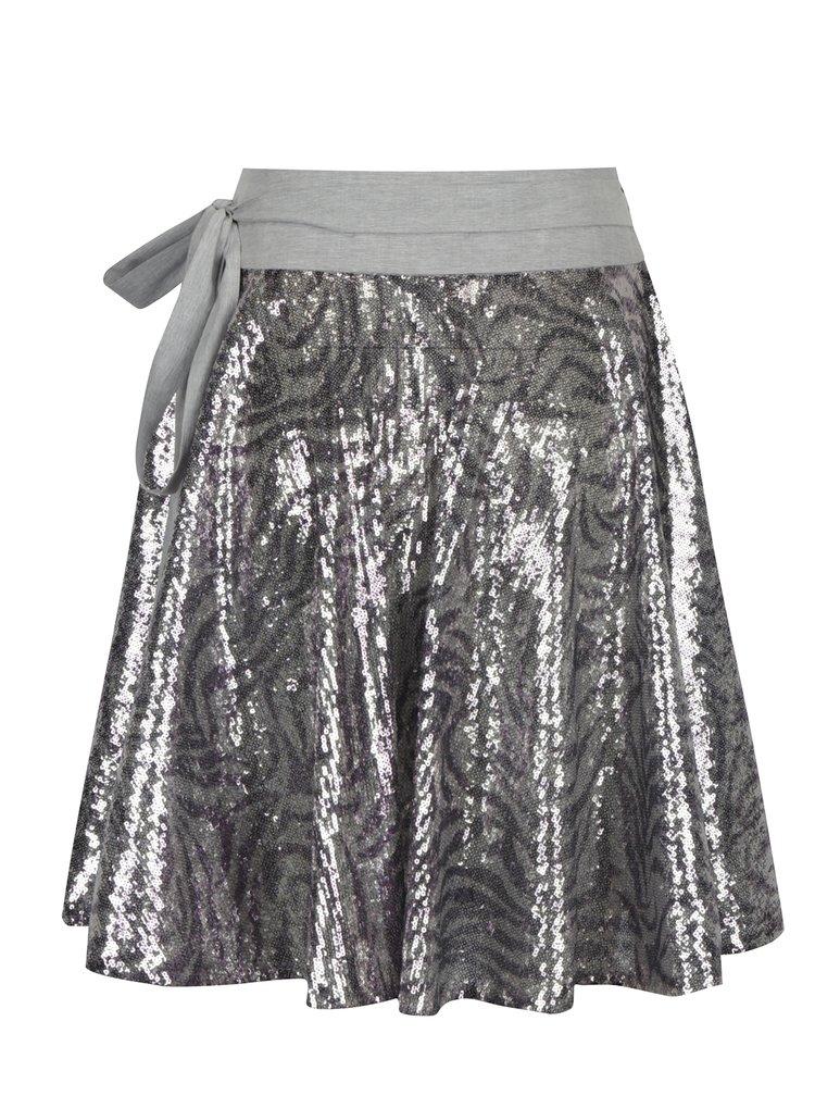 Vzorovaná zavinovací sukně s flitry ve stříbrné barvě La femme MiMi